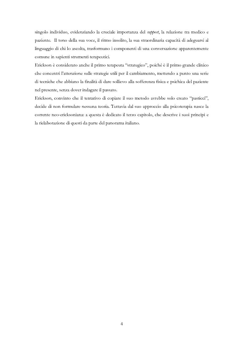 Anteprima della tesi: La psicoterapia ipnotica: Milton H. Erickson e i neo-ericksoniani, Pagina 2