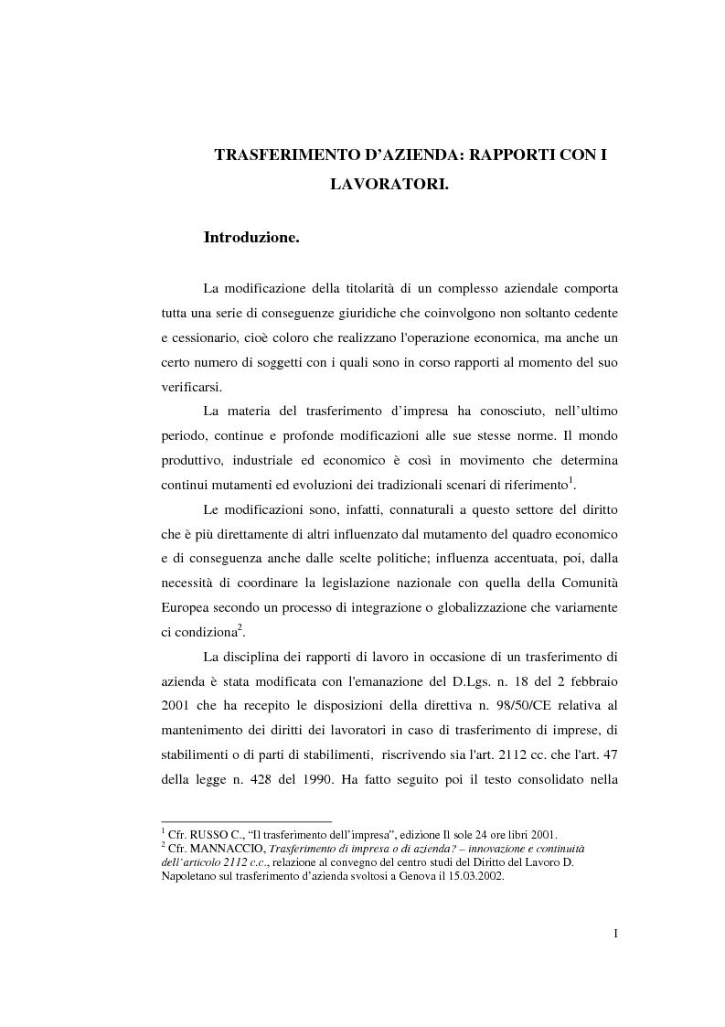 Anteprima della tesi: Trasferimento d'azienda: rapporti con i lavoratori, Pagina 1