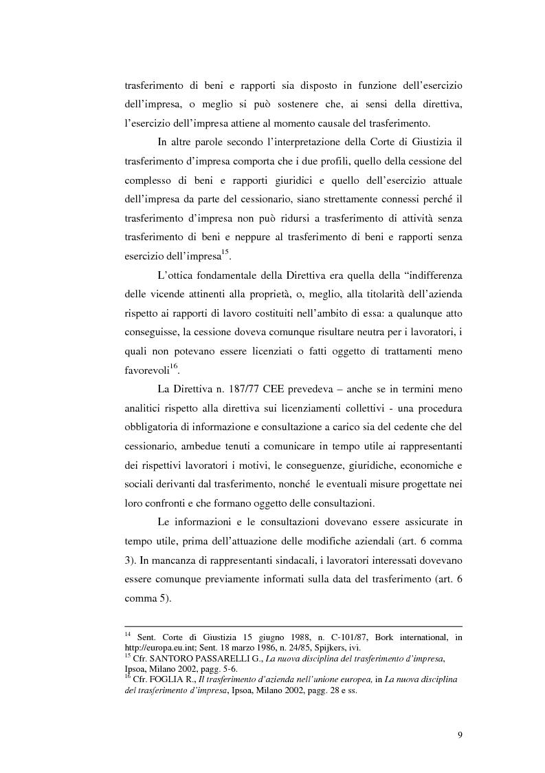 Anteprima della tesi: Trasferimento d'azienda: rapporti con i lavoratori, Pagina 12