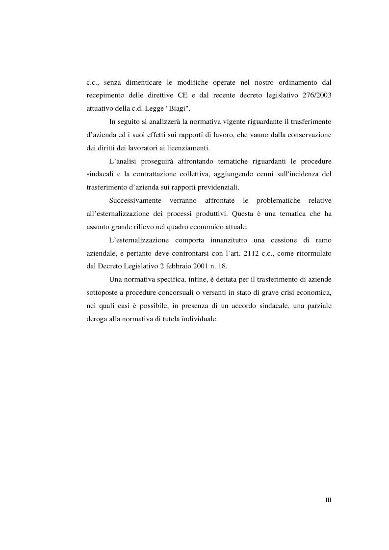 Anteprima della tesi: Trasferimento d'azienda: rapporti con i lavoratori, Pagina 3