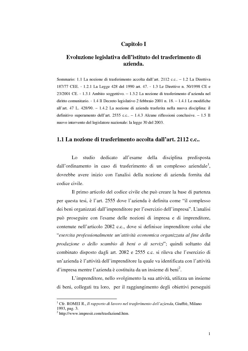 Anteprima della tesi: Trasferimento d'azienda: rapporti con i lavoratori, Pagina 4