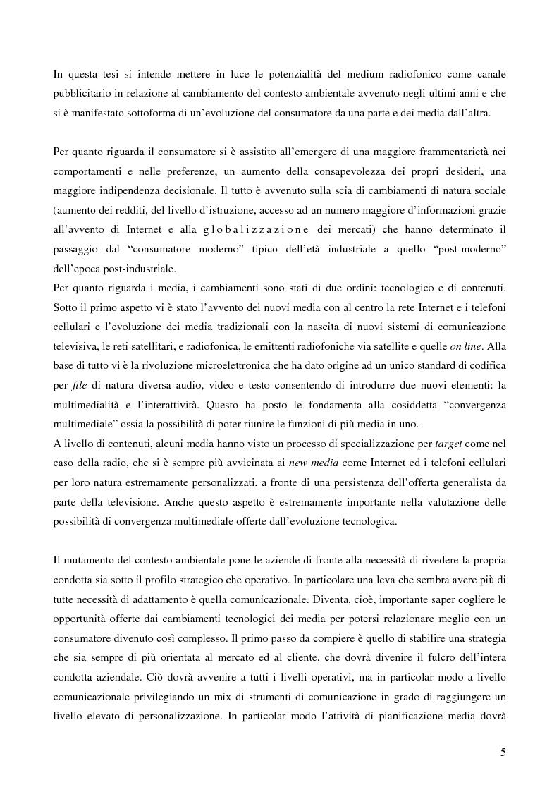 Anteprima della tesi: Le potenzialità promozionali del settore radiofonico, Pagina 1