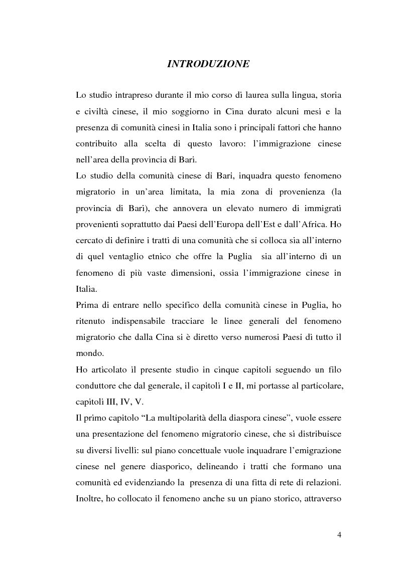 Anteprima della tesi: Comunità cinesi: analisi nell'area barese, Pagina 1