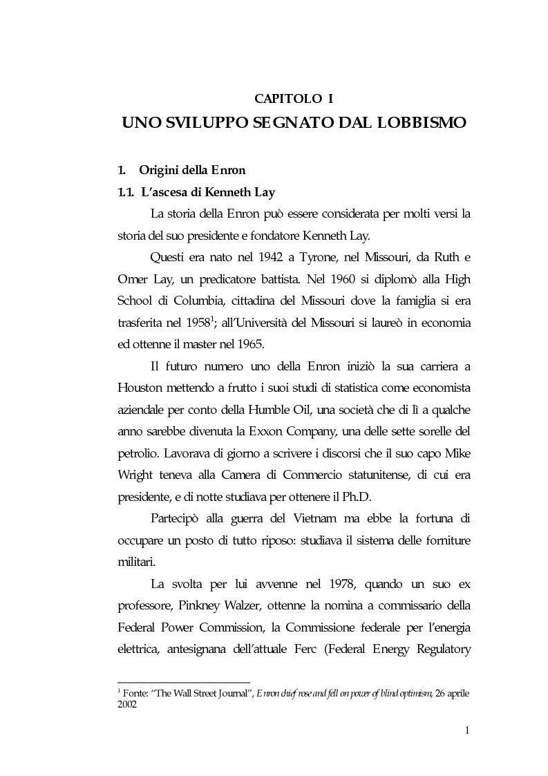 Anteprima della tesi: Principi di governance negli Usa: il caso Enron, Pagina 3