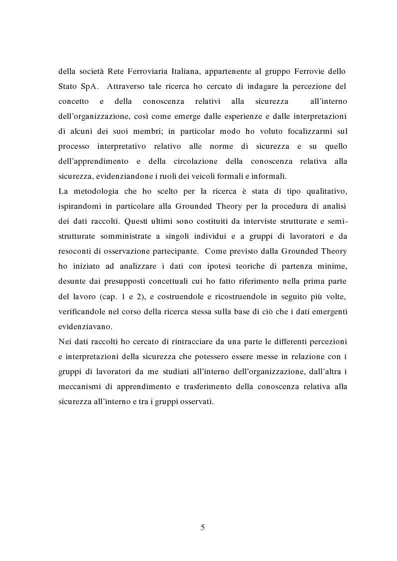Anteprima della tesi: La traduzione delle conoscenze sulla sicurezza: il caso delle Ferrovie dello Stato, Pagina 3