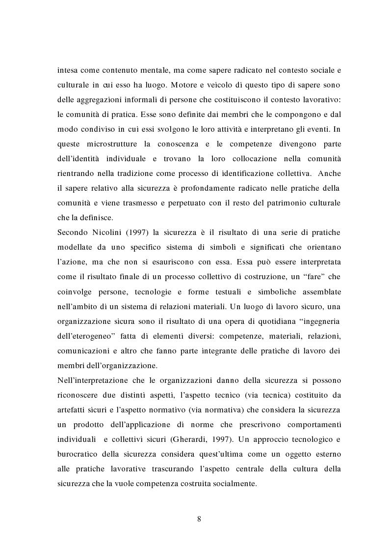 Anteprima della tesi: La traduzione delle conoscenze sulla sicurezza: il caso delle Ferrovie dello Stato, Pagina 6