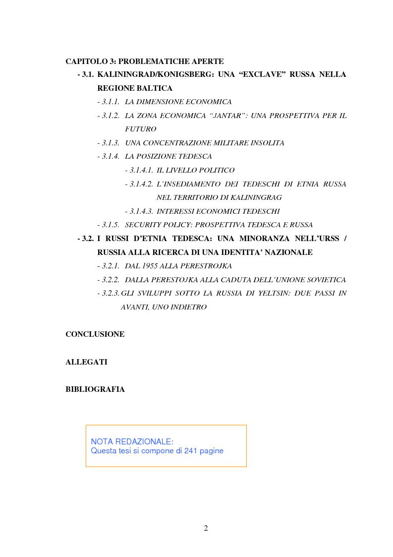 Indice della tesi: Le relazioni tedesco-russe negli anni 1989-1994. Dall'unificazione tedesca al ritiro delle truppe sovietiche dalla Germania orientale, Pagina 2
