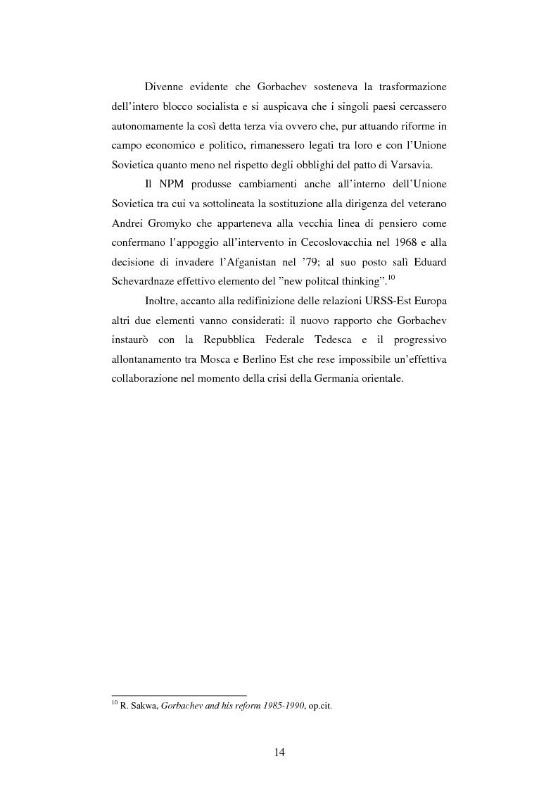 Anteprima della tesi: Le relazioni tedesco-russe negli anni 1989-1994. Dall'unificazione tedesca al ritiro delle truppe sovietiche dalla Germania orientale, Pagina 10
