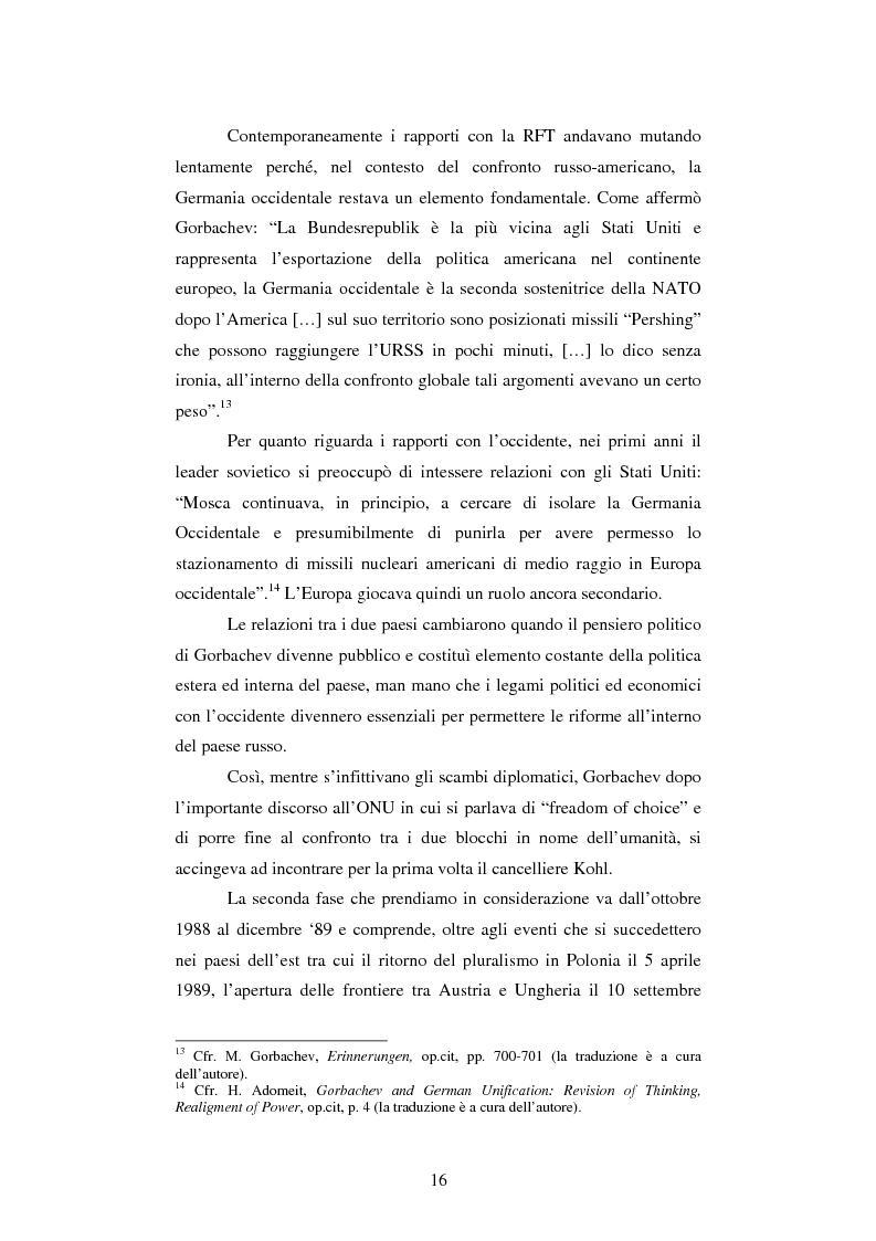 Anteprima della tesi: Le relazioni tedesco-russe negli anni 1989-1994. Dall'unificazione tedesca al ritiro delle truppe sovietiche dalla Germania orientale, Pagina 12