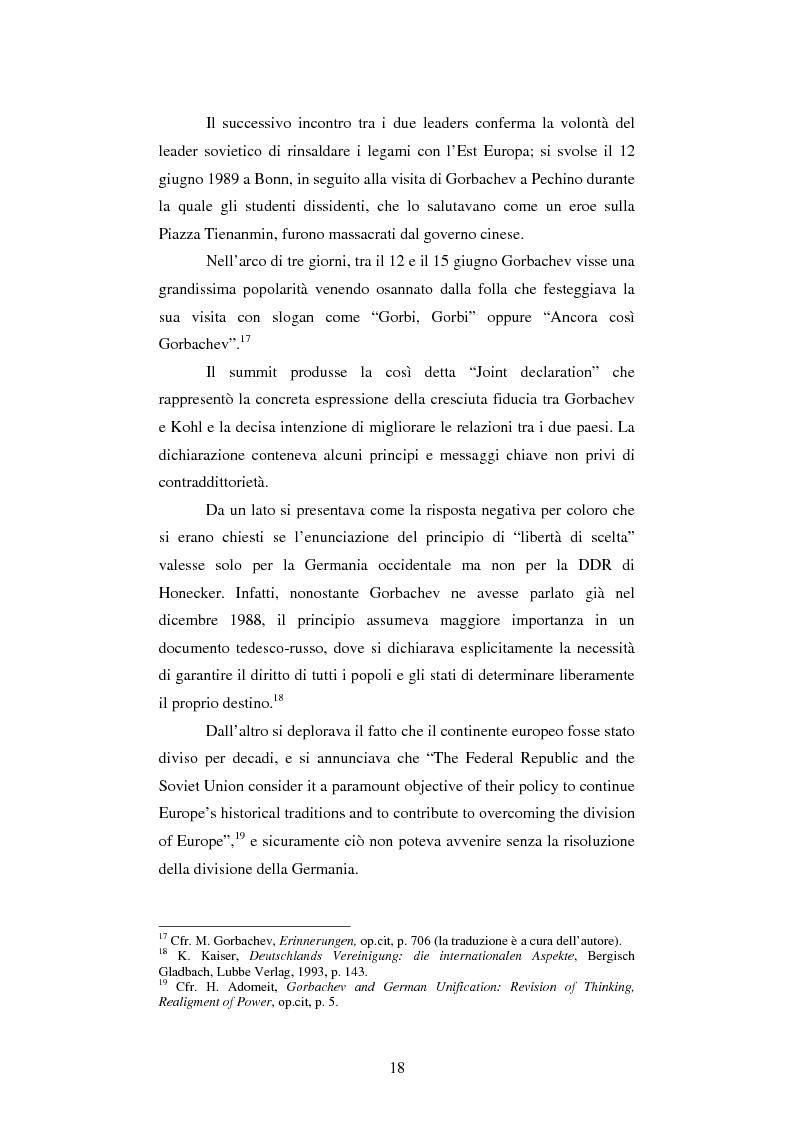 Anteprima della tesi: Le relazioni tedesco-russe negli anni 1989-1994. Dall'unificazione tedesca al ritiro delle truppe sovietiche dalla Germania orientale, Pagina 14