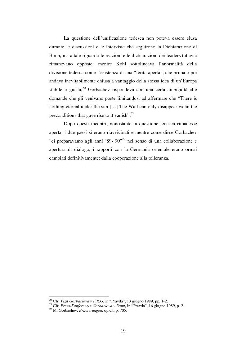 Anteprima della tesi: Le relazioni tedesco-russe negli anni 1989-1994. Dall'unificazione tedesca al ritiro delle truppe sovietiche dalla Germania orientale, Pagina 15