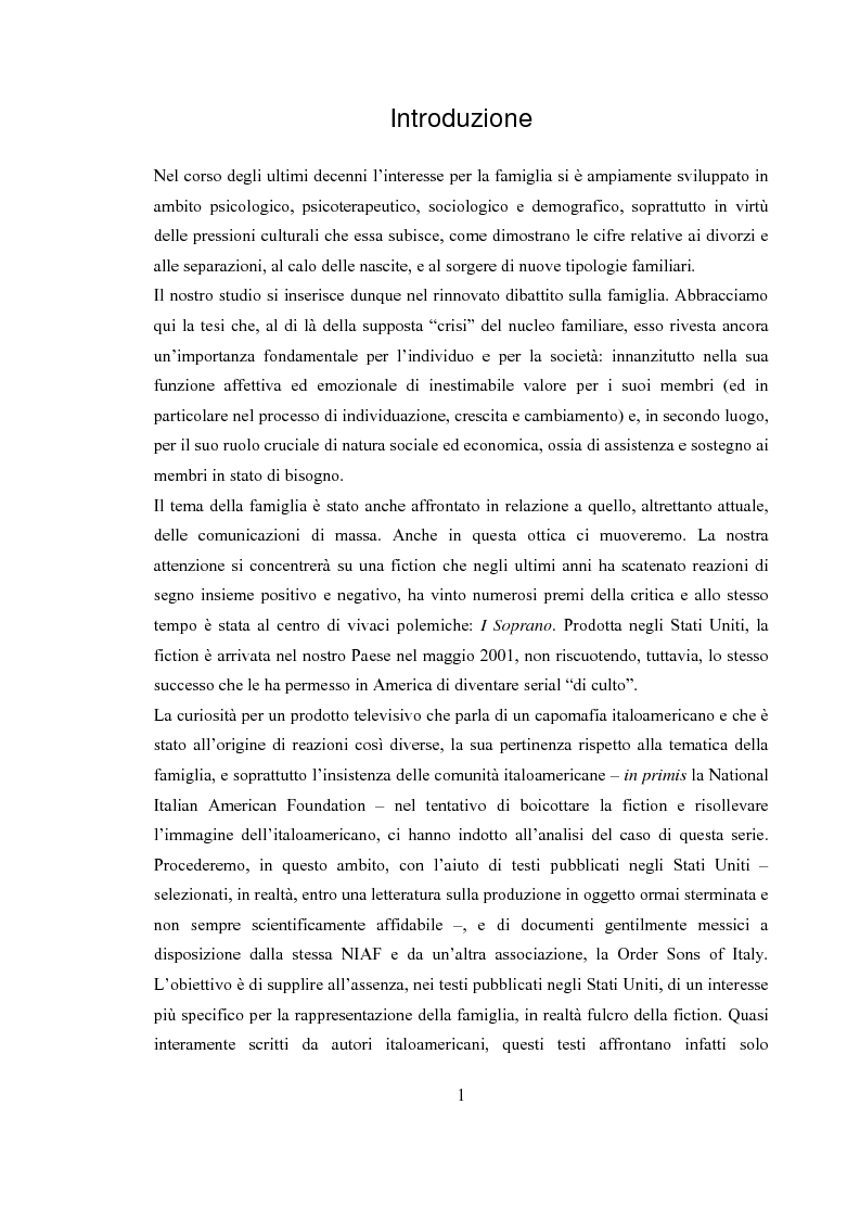 Anteprima della tesi: Le dinamiche di relazione familiare nella serie televisiva ''I Soprano'', Pagina 1