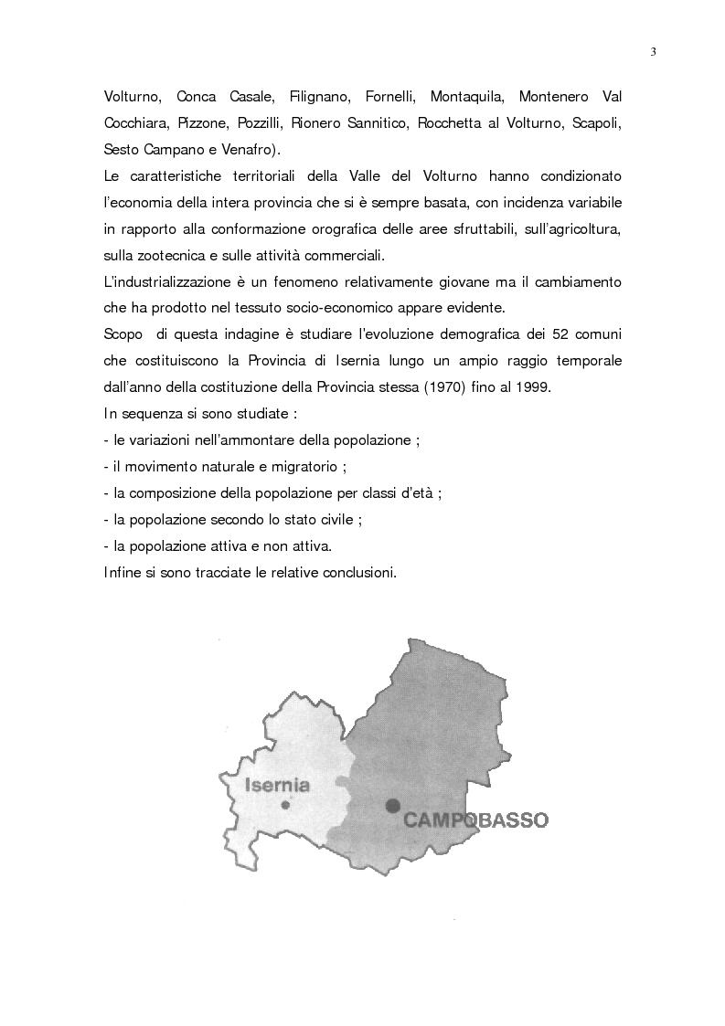 Anteprima della tesi: L'evoluzione della popolazione della Provincia di Isernia dal 1970, anno della sua costituzione, ad oggi, Pagina 3