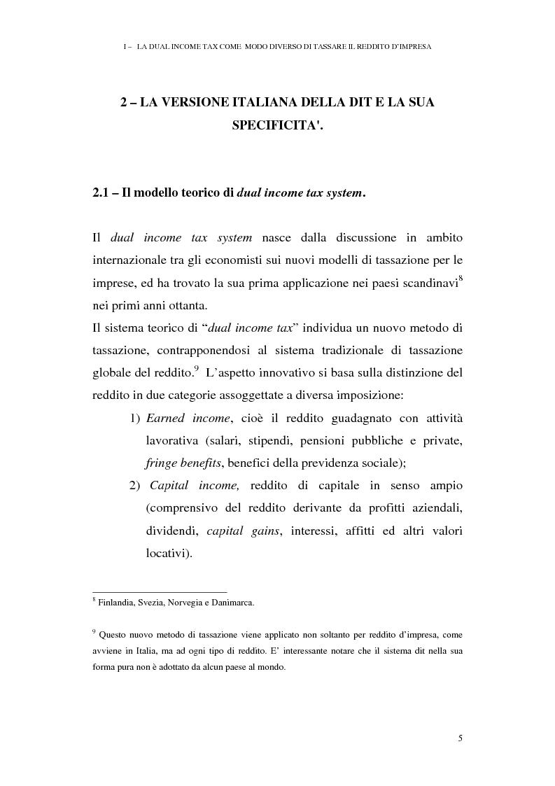 Anteprima della tesi: I profili antielusivi nella disciplina della ''Dual income tax''. Analisi di un microsistema, Pagina 11