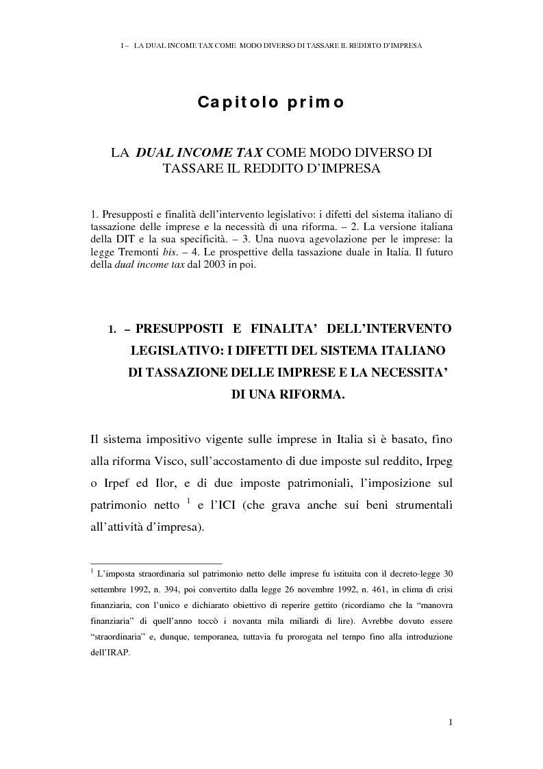 Anteprima della tesi: I profili antielusivi nella disciplina della ''Dual income tax''. Analisi di un microsistema, Pagina 7