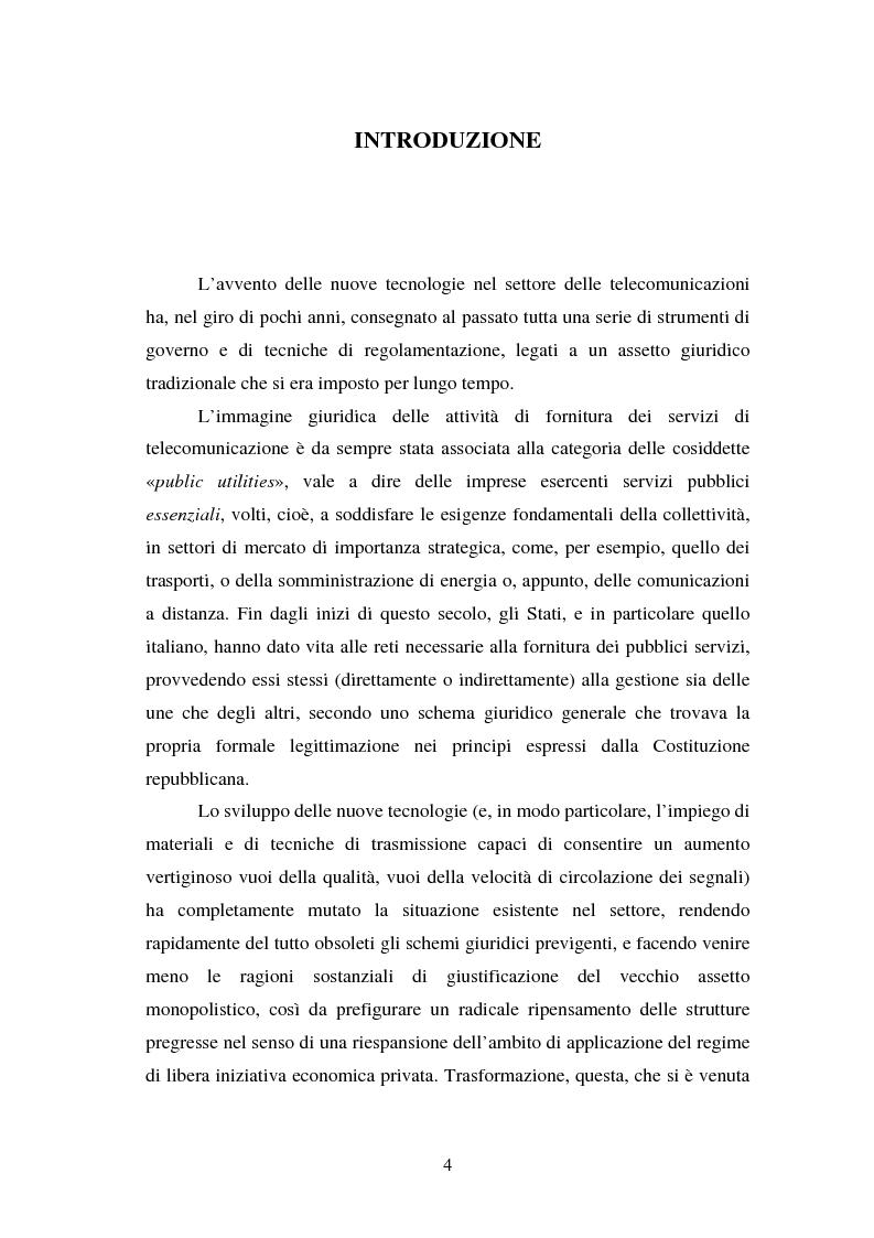 La piena attuazione del principio di libera concorrenza al settore delle telecomunicazioni - Tesi di Laurea