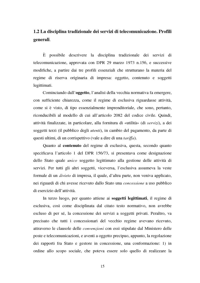 Anteprima della tesi: La piena attuazione del principio di libera concorrenza al settore delle telecomunicazioni, Pagina 12