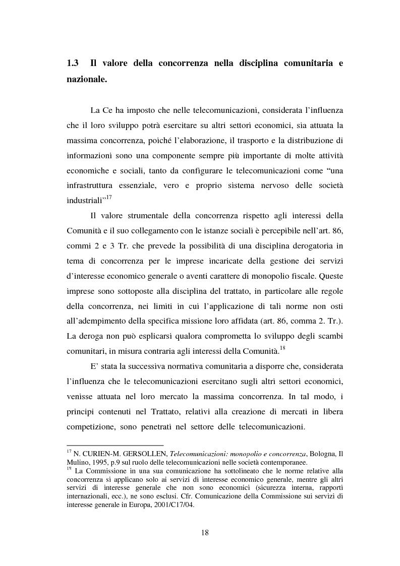 Anteprima della tesi: La piena attuazione del principio di libera concorrenza al settore delle telecomunicazioni, Pagina 15