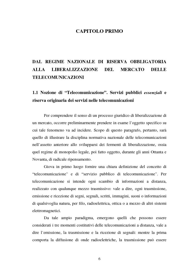 Anteprima della tesi: La piena attuazione del principio di libera concorrenza al settore delle telecomunicazioni, Pagina 3
