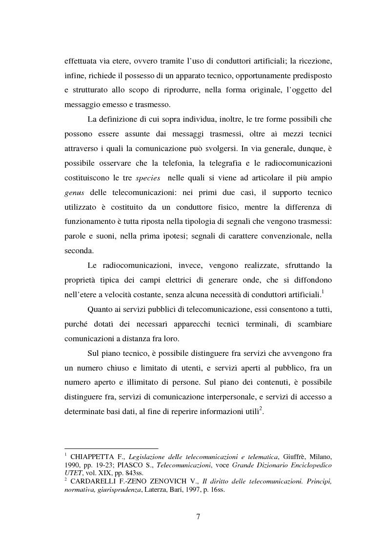 Anteprima della tesi: La piena attuazione del principio di libera concorrenza al settore delle telecomunicazioni, Pagina 4