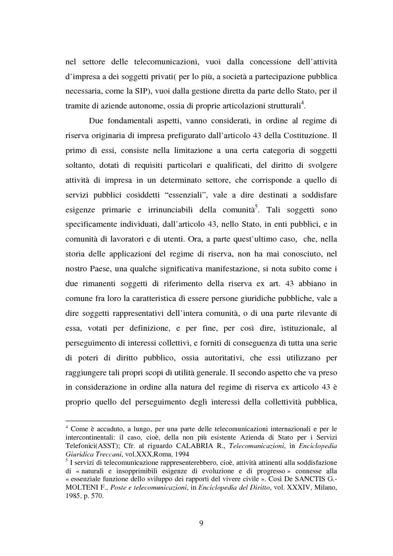 Anteprima della tesi: La piena attuazione del principio di libera concorrenza al settore delle telecomunicazioni, Pagina 6