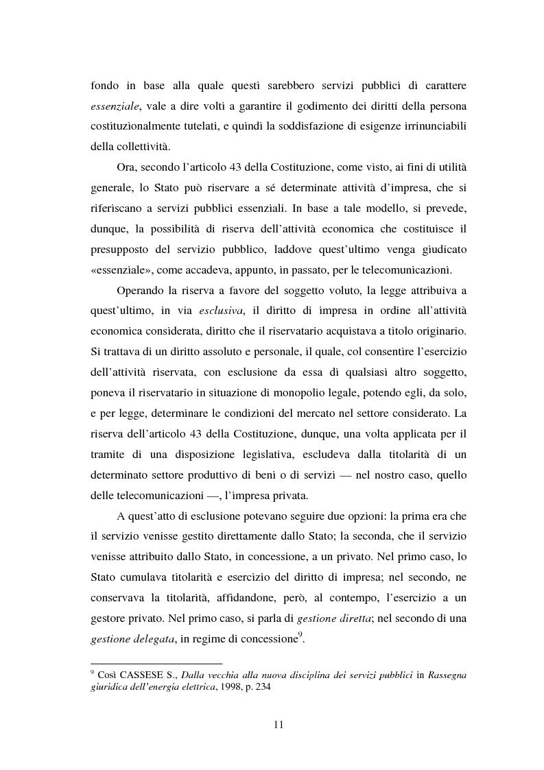Anteprima della tesi: La piena attuazione del principio di libera concorrenza al settore delle telecomunicazioni, Pagina 8
