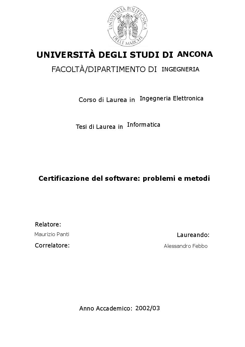 Anteprima della tesi: Certificazione del software: problemi e metodi, Pagina 1