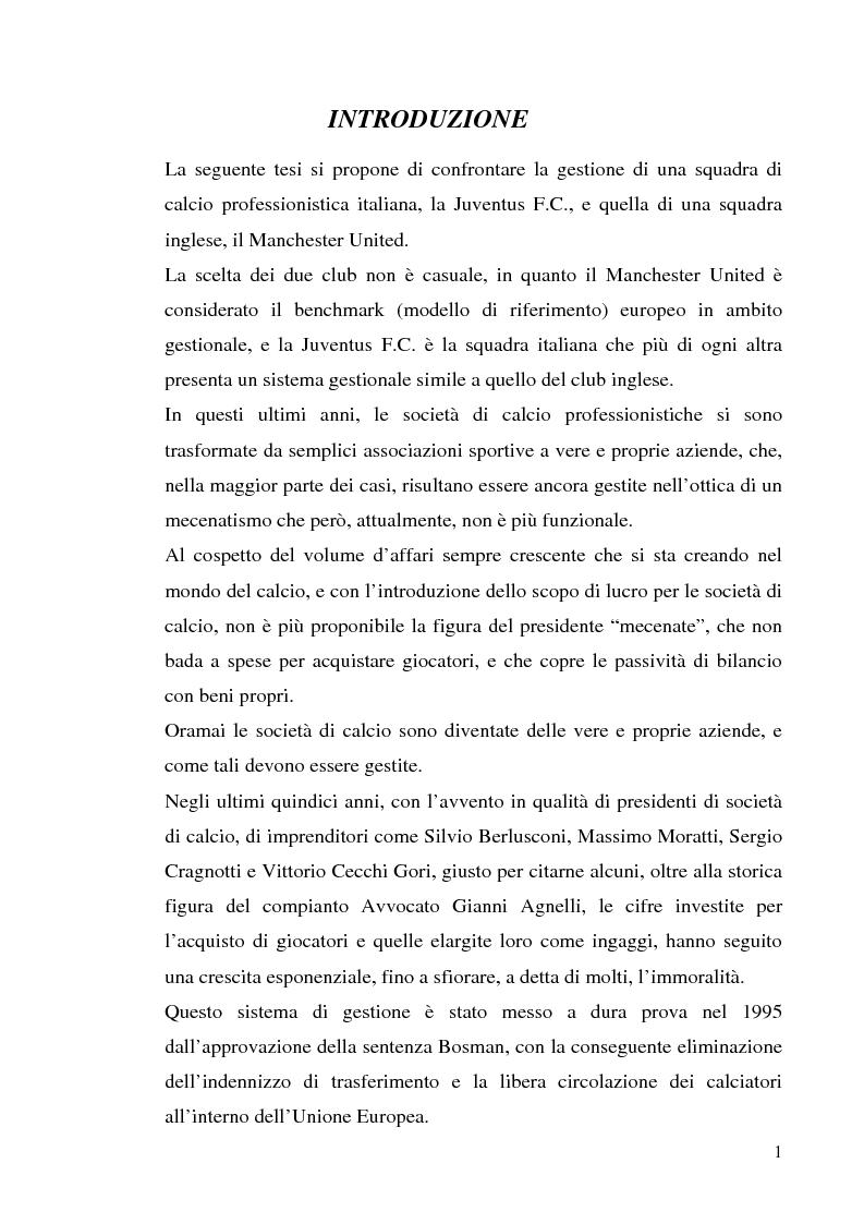 Anteprima della tesi: Gestione delle società di calcio professionistiche: confronto tra la Juventus F.C. ed il benchmark Manchester United, Pagina 1