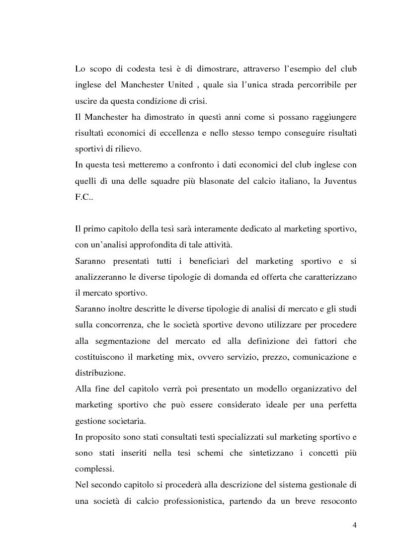 Anteprima della tesi: Gestione delle società di calcio professionistiche: confronto tra la Juventus F.C. ed il benchmark Manchester United, Pagina 4