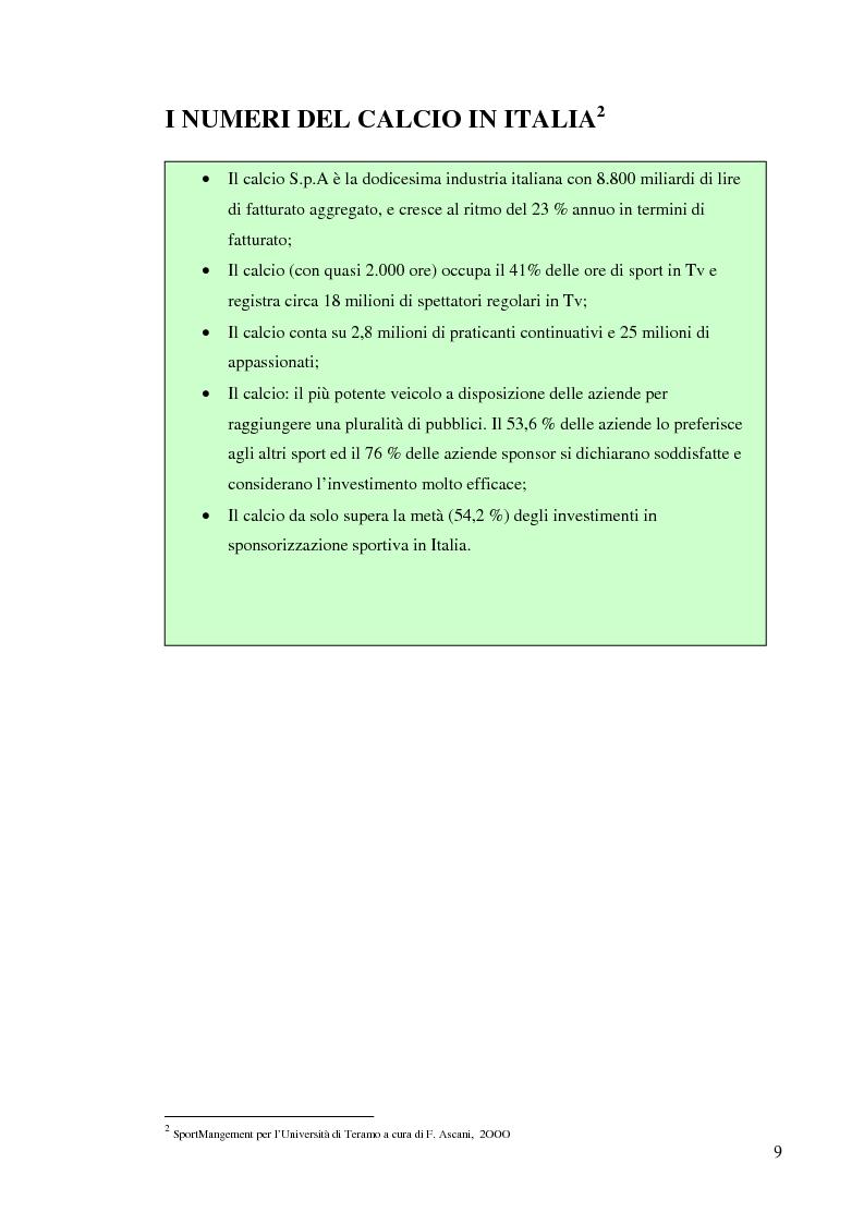 Anteprima della tesi: Gestione delle società di calcio professionistiche: confronto tra la Juventus F.C. ed il benchmark Manchester United, Pagina 9