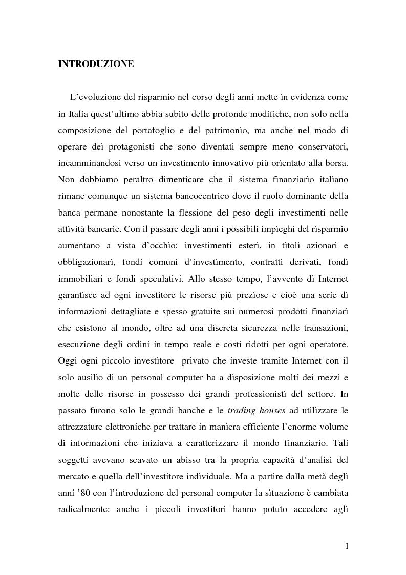 Anteprima della tesi: L'impatto di Internet sul risparmio, Pagina 1