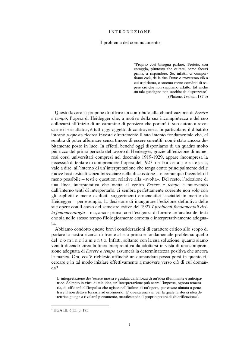 Anteprima della tesi: La questione dell'analogia in M. Heidegger, Pagina 1