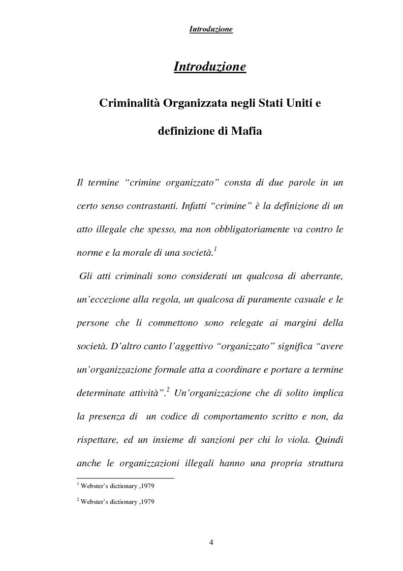 Anteprima della tesi: Criminalità ed economia: la mafia in America, Pagina 1