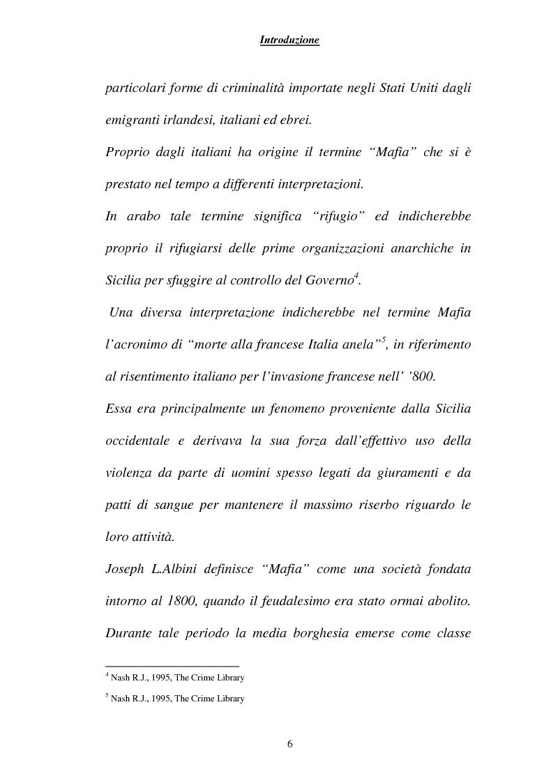 Anteprima della tesi: Criminalità ed economia: la mafia in America, Pagina 3