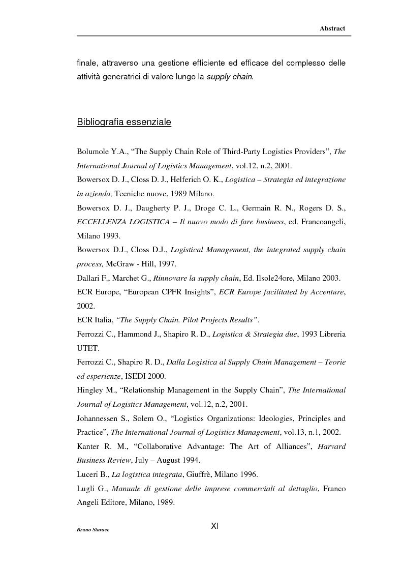 Anteprima della tesi: La gestione dei servizi logistici e le strategie di collaborazione lungo la supply chain, Pagina 11