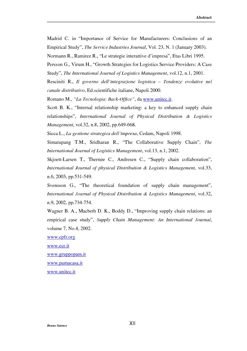 Anteprima della tesi: La gestione dei servizi logistici e le strategie di collaborazione lungo la supply chain, Pagina 12