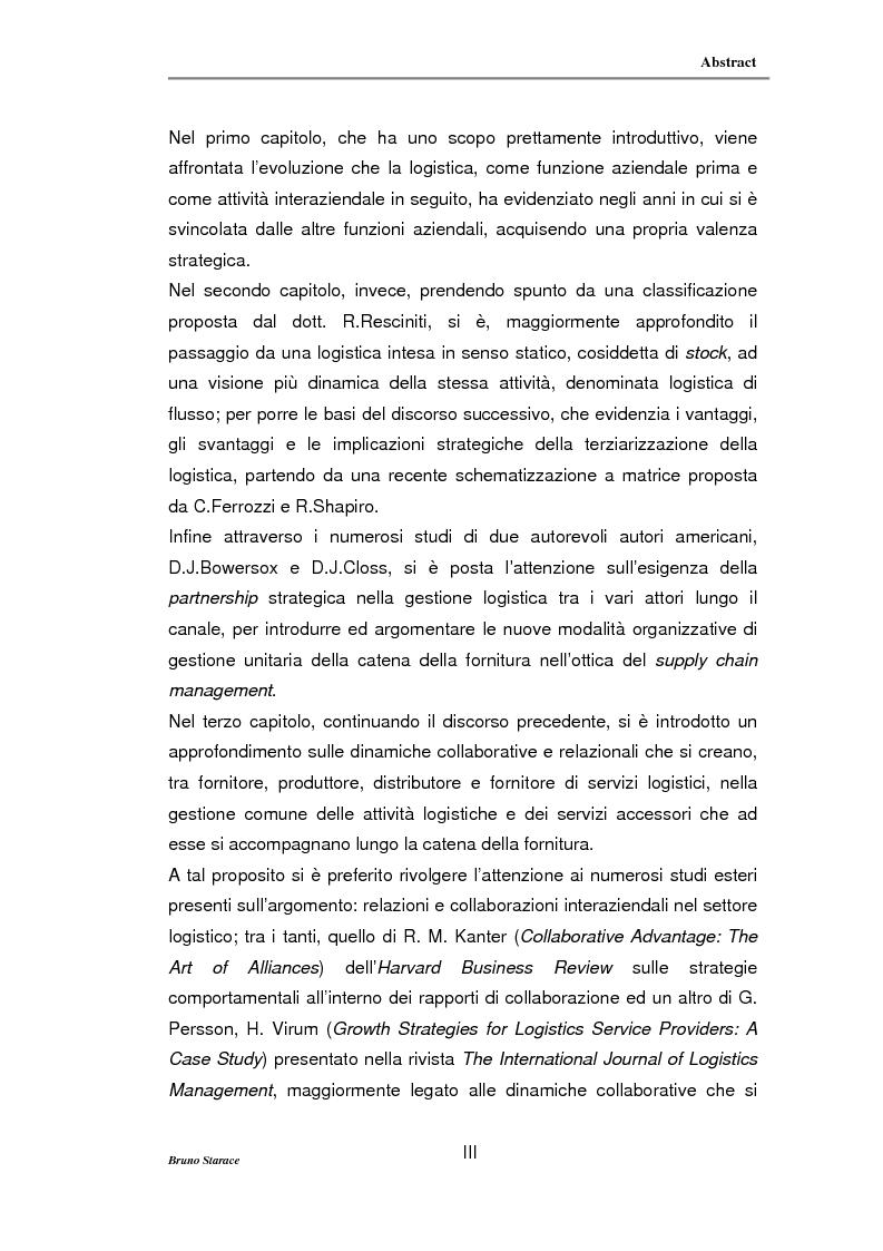 Anteprima della tesi: La gestione dei servizi logistici e le strategie di collaborazione lungo la supply chain, Pagina 3
