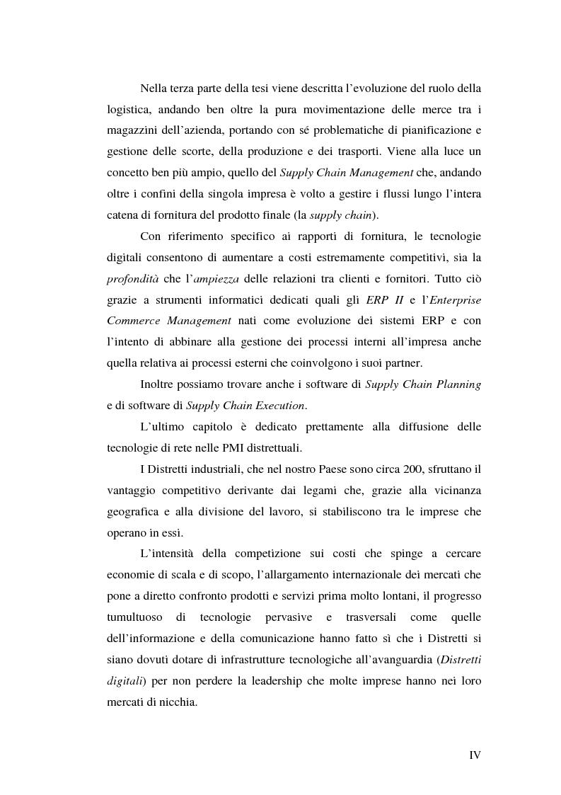 Anteprima della tesi: Le tecnologie informatiche come strumento di integrazione per le imprese. Il distretto digitale di Belluno e il progetto Opto-Idx, Pagina 4