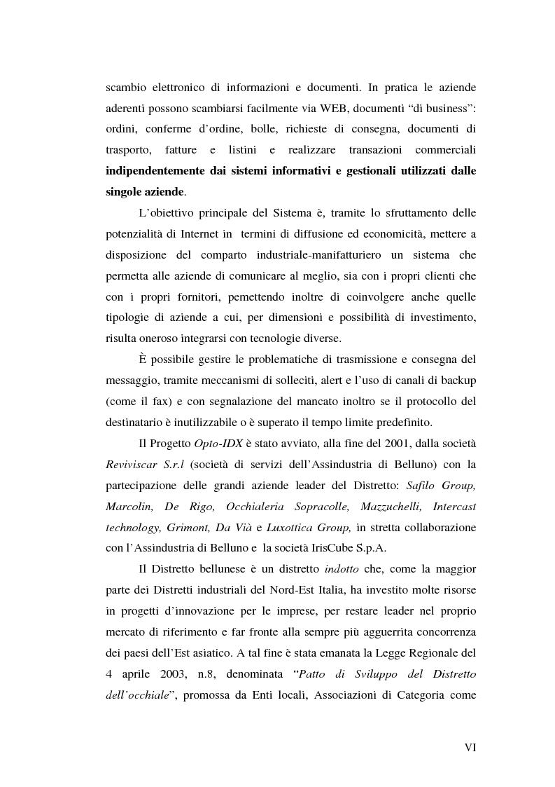 Anteprima della tesi: Le tecnologie informatiche come strumento di integrazione per le imprese. Il distretto digitale di Belluno e il progetto Opto-Idx, Pagina 6