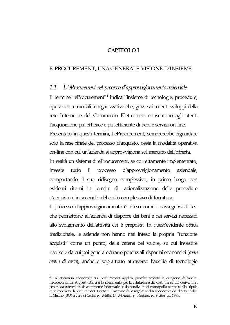 Anteprima della tesi: Nuovi processi di approvvigionamento di beni e servizi in Sanità: il caso di eccellenza di eProcurement dell'Azienda Sanitaria Locale di Viterbo, Pagina 10