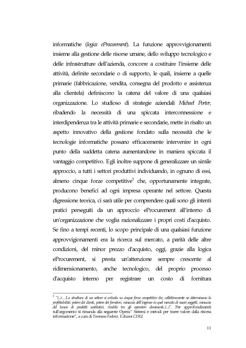 Anteprima della tesi: Nuovi processi di approvvigionamento di beni e servizi in Sanità: il caso di eccellenza di eProcurement dell'Azienda Sanitaria Locale di Viterbo, Pagina 11