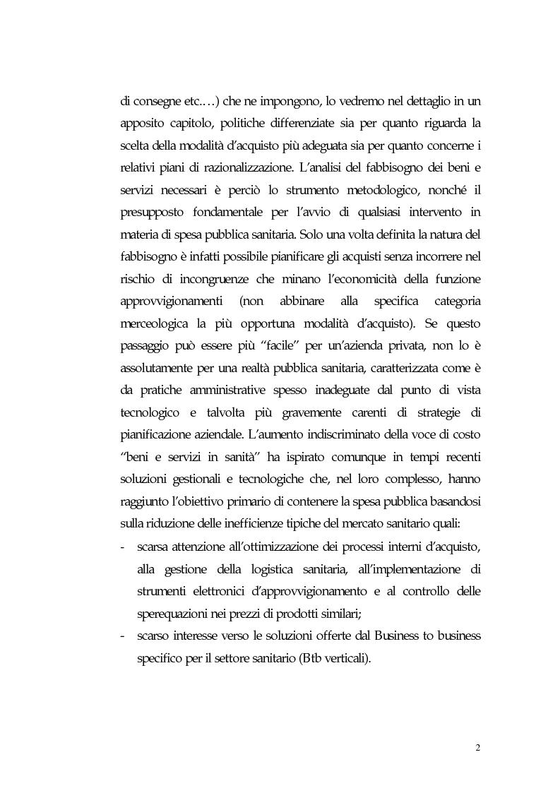 Anteprima della tesi: Nuovi processi di approvvigionamento di beni e servizi in Sanità: il caso di eccellenza di eProcurement dell'Azienda Sanitaria Locale di Viterbo, Pagina 2