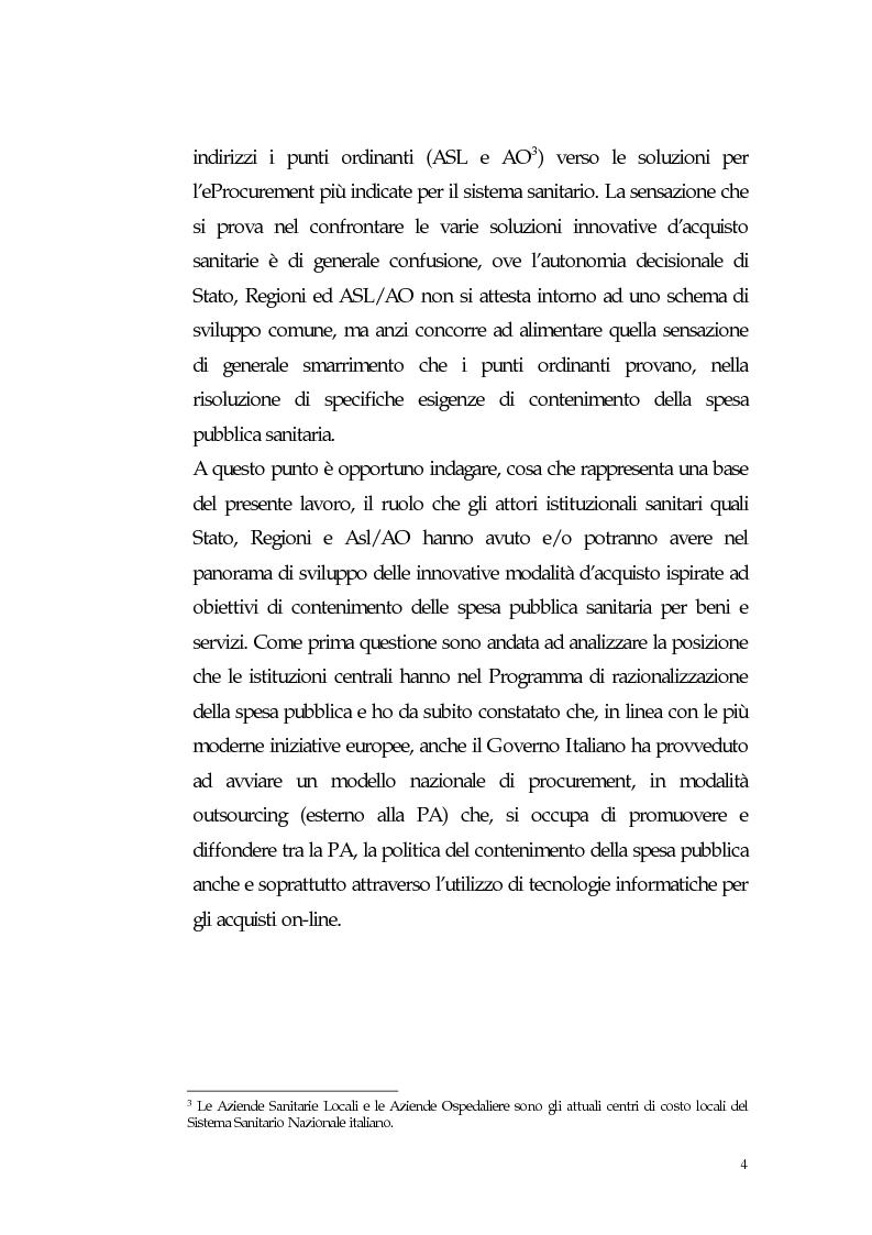 Anteprima della tesi: Nuovi processi di approvvigionamento di beni e servizi in Sanità: il caso di eccellenza di eProcurement dell'Azienda Sanitaria Locale di Viterbo, Pagina 4