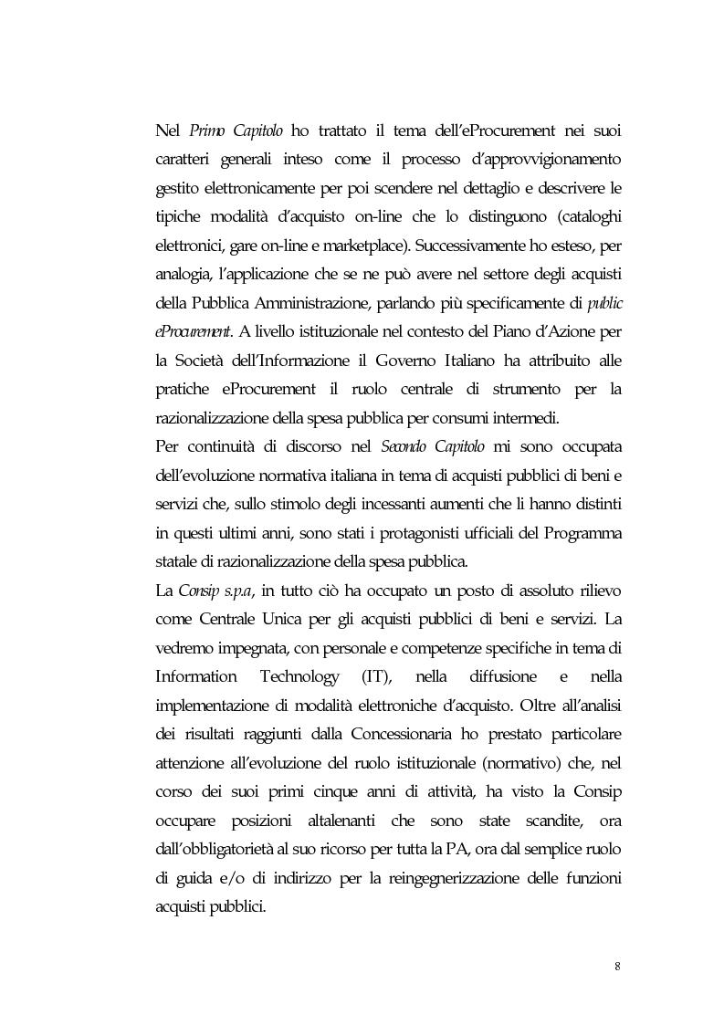 Anteprima della tesi: Nuovi processi di approvvigionamento di beni e servizi in Sanità: il caso di eccellenza di eProcurement dell'Azienda Sanitaria Locale di Viterbo, Pagina 8
