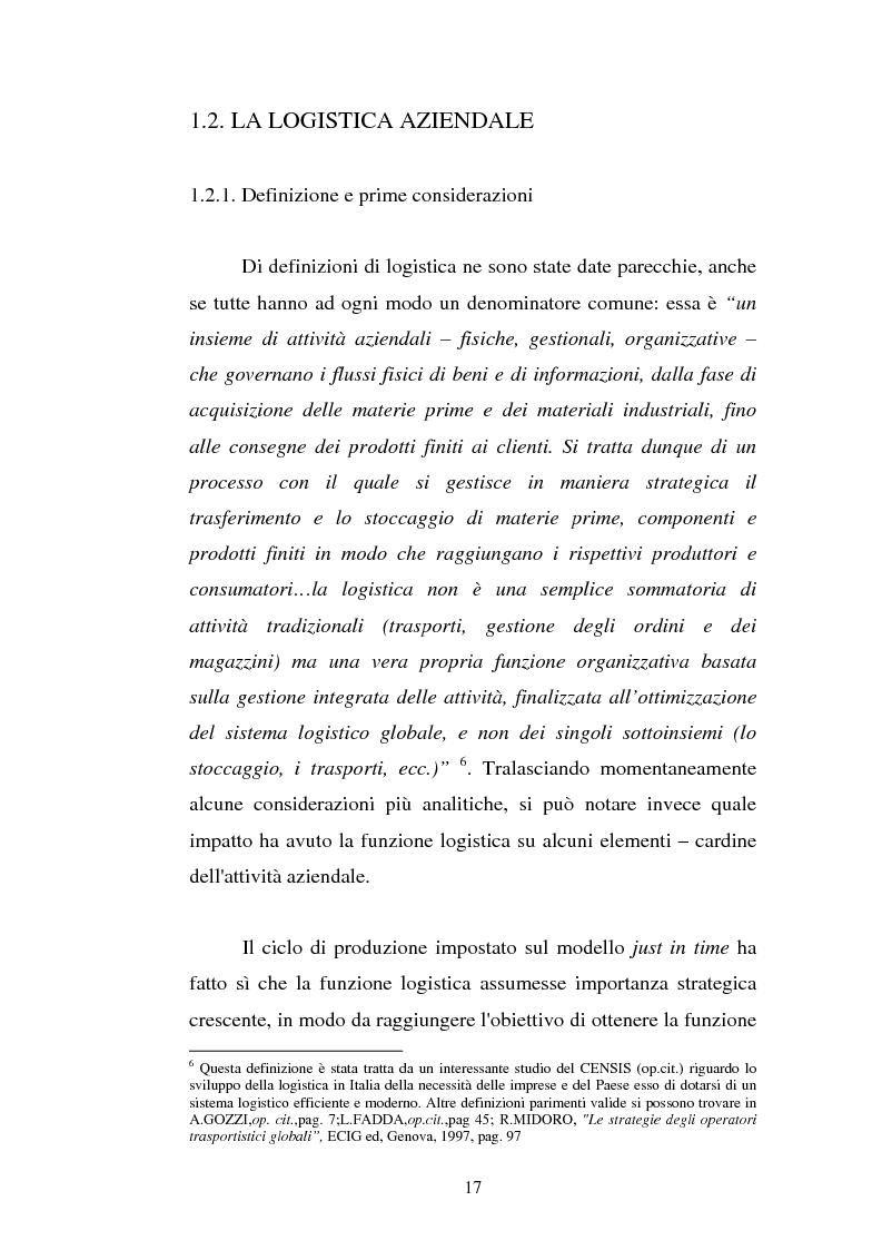 Anteprima della tesi: Analisi localizzativa di una base logistica a servizio del porto di Genova, Pagina 11