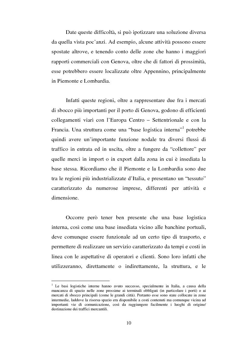 Anteprima della tesi: Analisi localizzativa di una base logistica a servizio del porto di Genova, Pagina 4