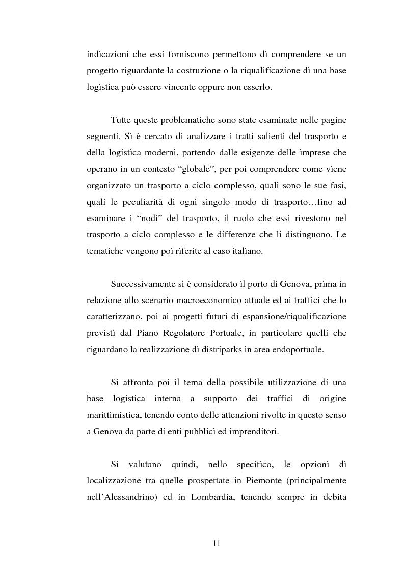 Anteprima della tesi: Analisi localizzativa di una base logistica a servizio del porto di Genova, Pagina 5