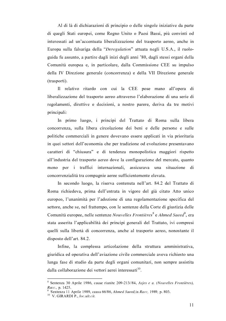 Anteprima della tesi: La liberalizzazione dei trasporti aerei nell'Unione europea, Pagina 7