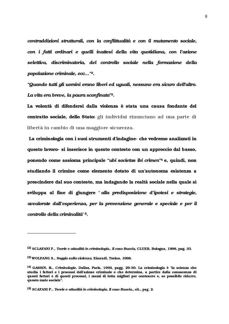 Anteprima della tesi: La diffusione del comportamento criminale: il problema del campo oscuro, Pagina 2