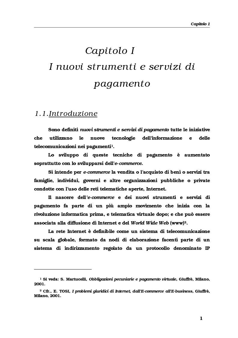 Anteprima della tesi: Gli strumenti e i servizi di pagamento innovativi: funzionamento, soggetti e rischio operativo, Pagina 4